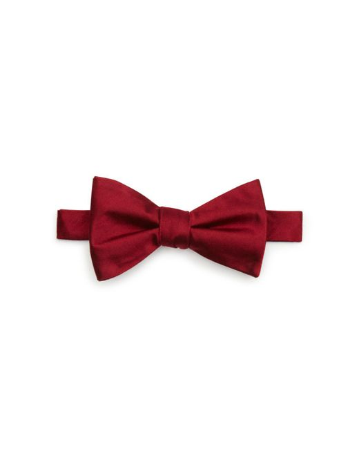 Bloomingdale's - Red Solid Satin Pre-tied Bow Tie for Men - Lyst