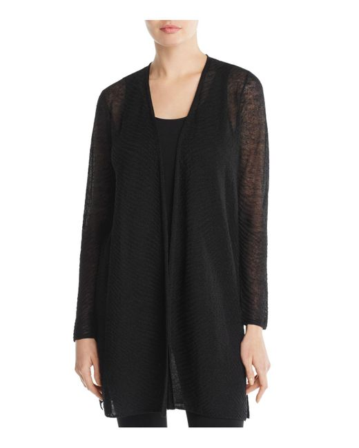 Eileen Fisher | Black Lightweight Textured Cardigan | Lyst