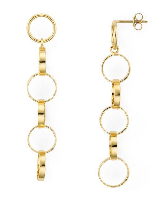 Aqua - Metallic Linked Rings Linear Drop Earrings In 18k Gold-plated Sterling Silver - Lyst