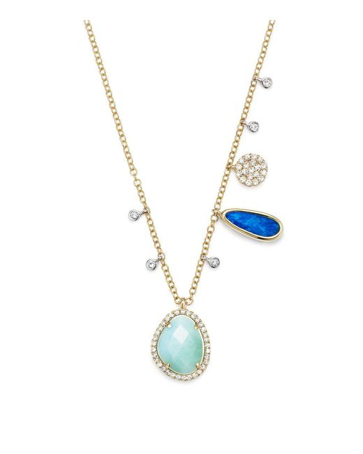 Meira T | Multicolor Opal And Diamond Necklace | Lyst