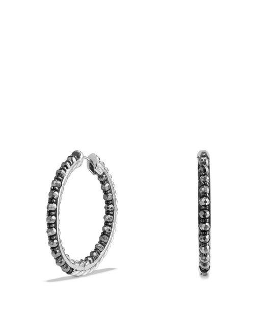 David Yurman - Metallic Osetra Hoop Earrings With Hematine - Lyst
