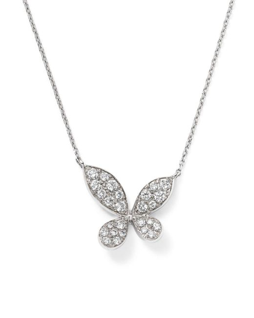 Bloomingdale's - Diamond Pavé Butterfly Pendant Necklace In 14k White Gold, .35 Ct. T.w. - Lyst