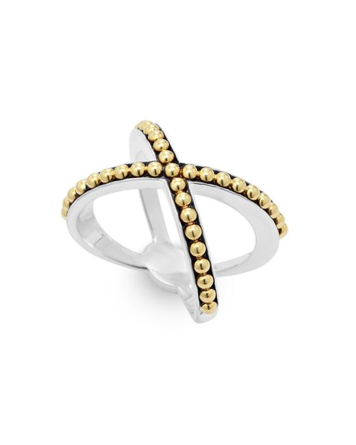 Lagos - Metallic 18k Gold And Sterling Silver Enso Caviar X Ring - Lyst