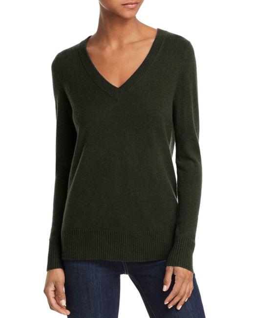 Aqua - Green Cashmere V-neck Cashmere Sweater - Lyst