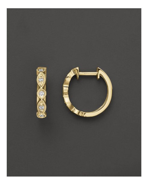 KC Designs - White Bezel Set Diamond Hoops In 14k Yellow Gold, .12 Ct. T.w. - Lyst