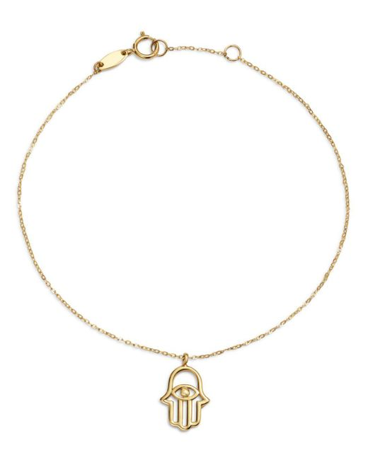 Moon & Meadow - Metallic Hamsa Hand Charm Bracelet In 14k Yellow Gold - Lyst