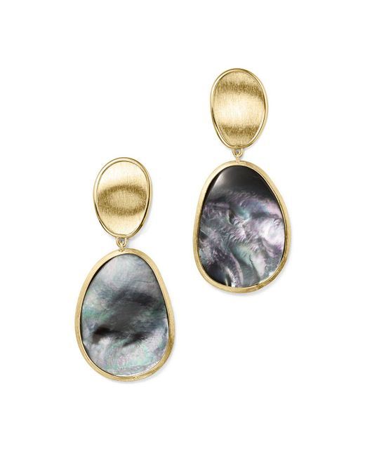 Marco Bicego | Metallic 18k Yellow Gold Lunaria Black Mother-of-pearl Double Drop Earrings | Lyst