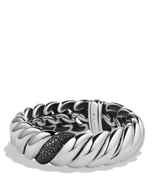 David Yurman - Metallic Hampton Cable Narrow Bracelet With Black Diamonds - Lyst