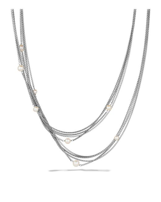 David Yurman | Metallic Four-row Chain Necklace With Pearls | Lyst
