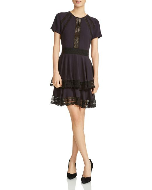 Maje - Blue Raglia Tiered Lace-inset Dress - Lyst