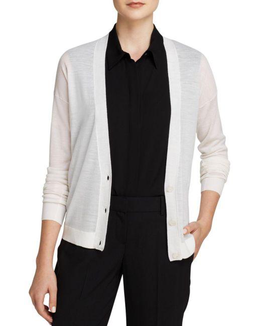 Theory - White Sweater - Wool Cardigan - Lyst