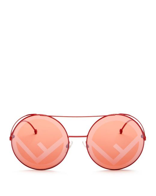 Fendi - Red Runaway 63mm Round Sunglasses - Lyst