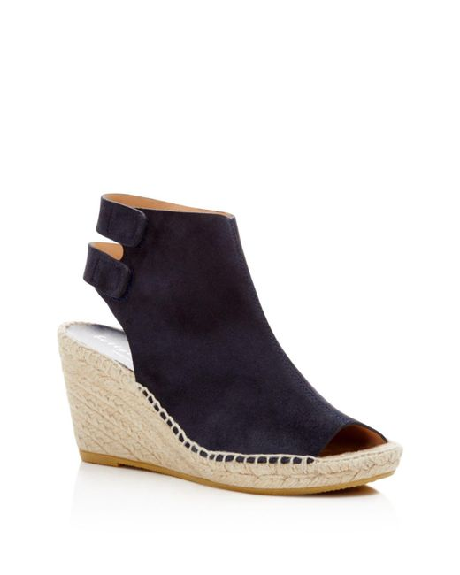 Bettye Muller - Black 'download' Suede Wedge Espadrille Sandal - Lyst