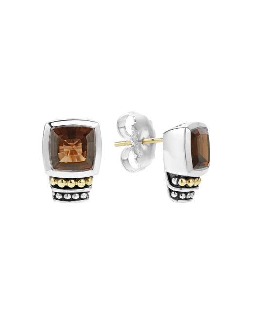 Lagos - Metallic 18k Gold And Sterling Silver Caviar Color Smoky Quartz Stud Earrings - Lyst