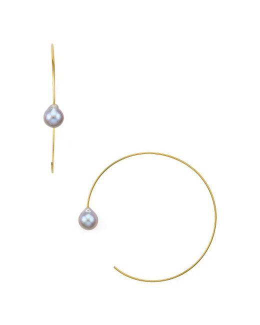 Chan Luu - Metallic Cultured Freshwater Pearl Hoop Earrings - Lyst