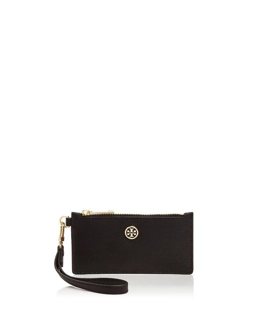 Tory Burch | Black Parker Zip Leather Card Case | Lyst