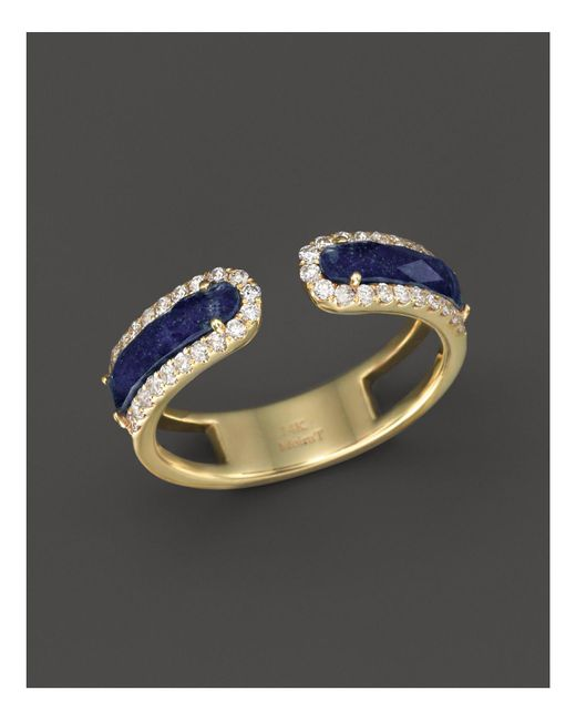 Meira T | Blue 14k Yellow Gold Lapis Ring With Diamonds | Lyst