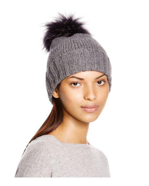 Inverni | Gray Foldover Knit Beanie With Asiatic Raccoon Fur Pom-pom | Lyst