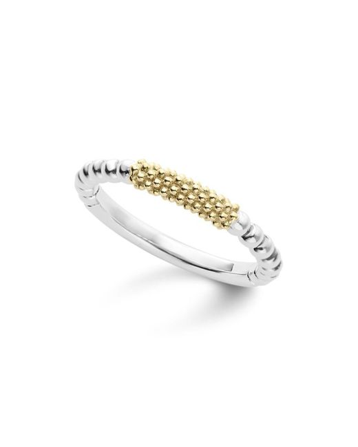 Lagos - Metallic Caviar Icon 18k Gold And Sterling Silver Bead Bar Stacking Ring - Lyst
