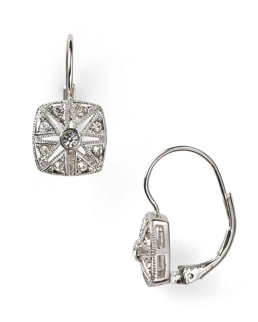 Nadri - Metallic Vintage Square Leverback Earrings - Lyst