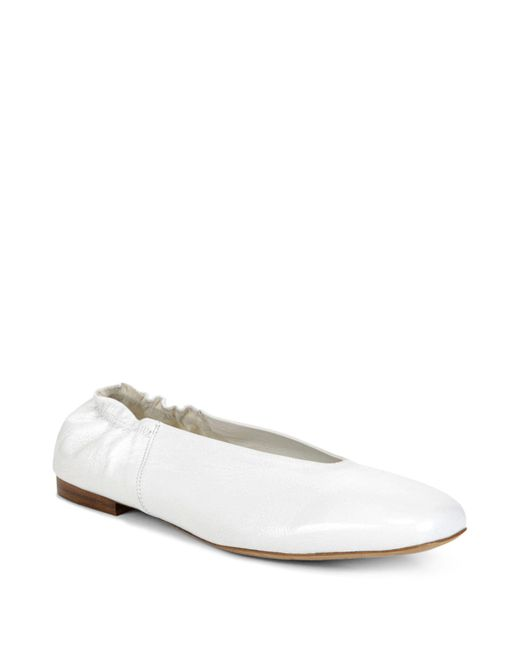 Vince - White Women's Lorelle Leather Ballet Flats - Lyst