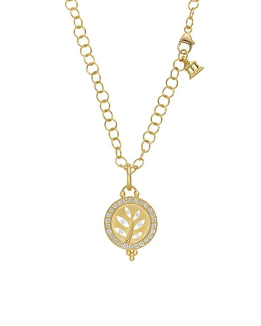 Temple St. Clair - Metallic 18k Yellow Gold Pavé Halo Tree Cutout Pendant With Diamonds - Lyst