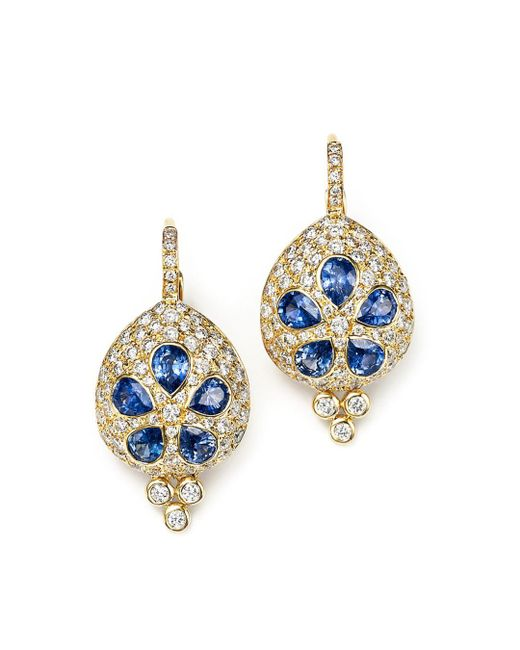 Temple St. Clair - Metallic 18k Gold Sea Biscuit Earrings With Blue Sapphire And Diamonds - Lyst