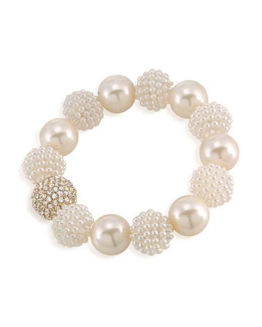 Carolee - White Simulated Pearl Beaded Bracelet - Lyst