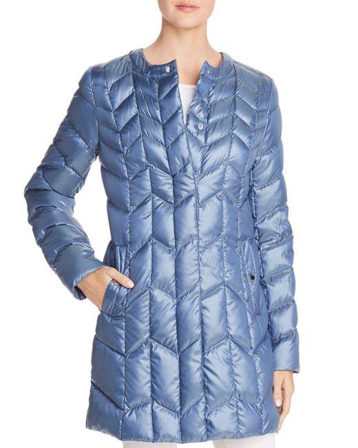 Via Spiga - Blue Packable Chevron-quilted Down Coat - Lyst