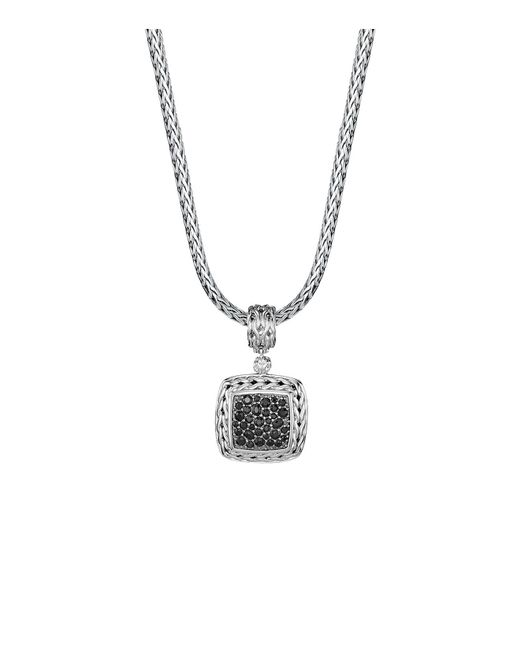 John Hardy | Metallic Sterling Silver Classic Chain Medium Square Pendant With Black Sapphire | Lyst