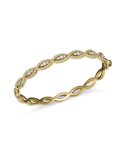 Roberto Coin - Metallic 18k Yellow Gold New Barocco Diamond Bangle - Lyst
