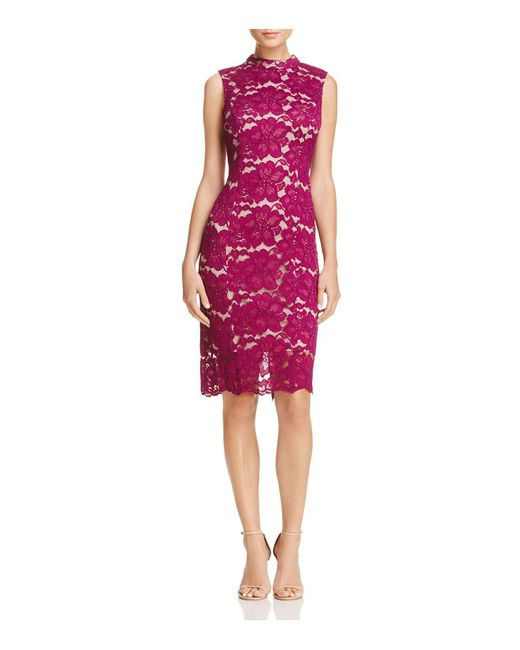 Adrianna Papell | Red Mock Neck Lace Dress | Lyst