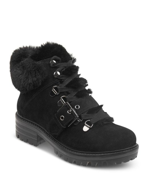 Kendall + Kylie - Black Women's Edison Round Toe Suede Hiking Boots - Lyst