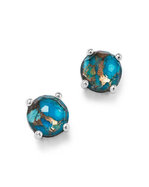 Ippolita - Metallic Sterling Silver Rock Candy® Mini Stud Earrings In Clear Quartz And Bronze Turquoise - Lyst