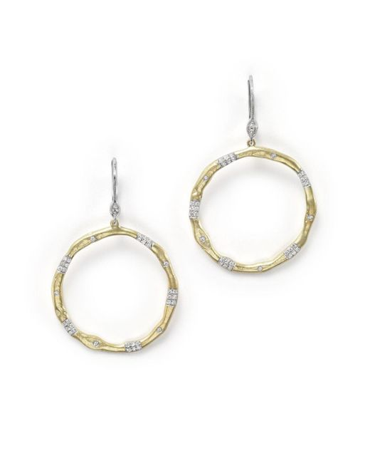 Meira T - Metallic 14k Gold And Diamond Open Circle Earrings - Lyst