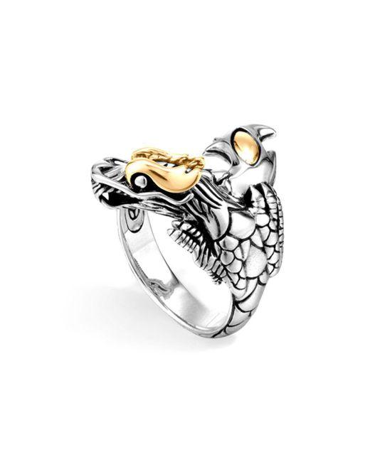 John Hardy - Metallic Sterling Silver & 18k Gold Naga Dragon Ring - Lyst