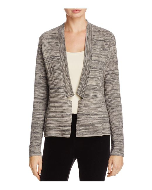 Eileen Fisher | Gray Notch Collar Space Dye Cardigan | Lyst