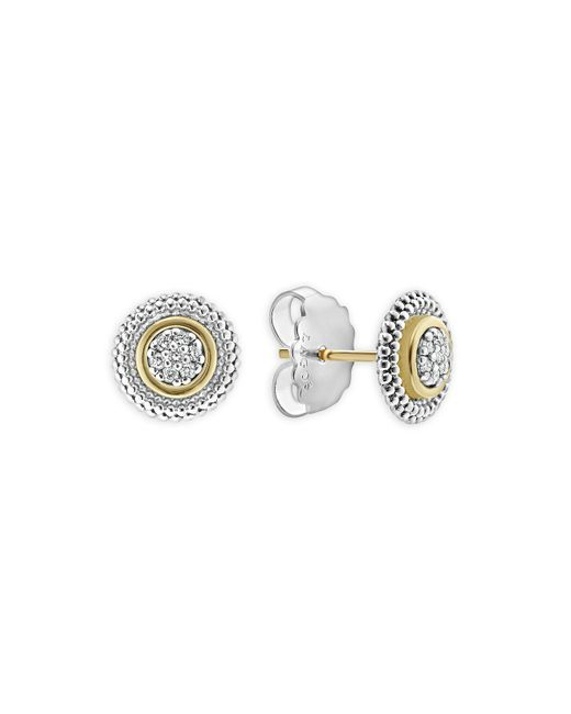 Lagos - Metallic Caviar Diamond Stud Earrings - Lyst