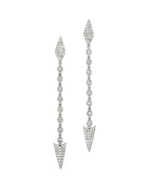 Meira T | Metallic 14k White Gold Diamond Arrow Drop Earrings | Lyst