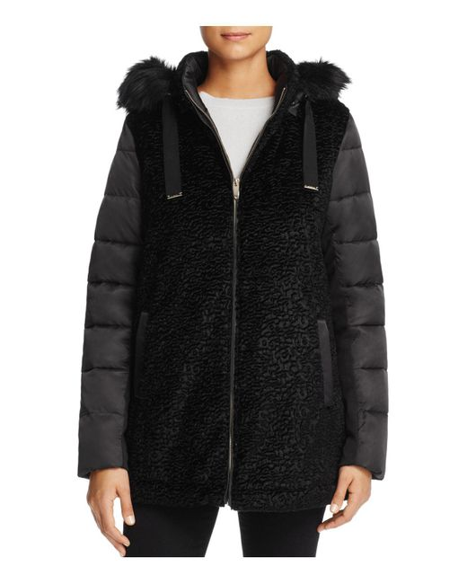 Via Spiga | Black Mixed Media Coat | Lyst