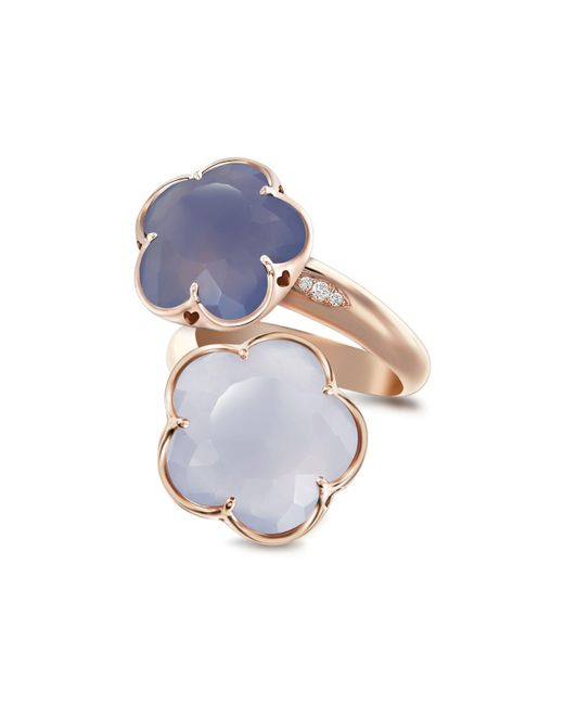Pasquale Bruni - Blue 18k Rose Gold Wrap Ring With Chalcedony And Diamonds - Lyst