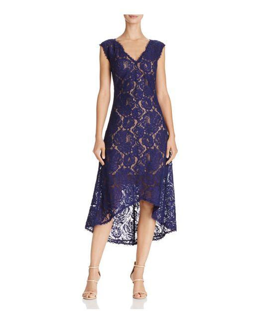 Tadashi Shoji | Blue V-neck Lace Dress | Lyst