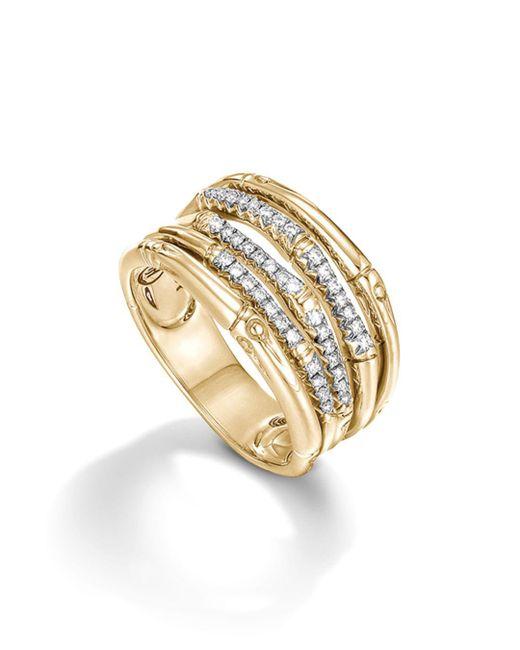 John Hardy - Metallic Bamboo 18k Yellow Gold Diamond Pavé Wide Ring - Lyst