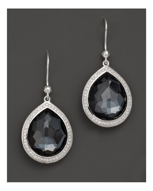 Ippolita - Multicolor Sterling Silver Stella Earrings In Hematite Doublet With Diamonds - Lyst