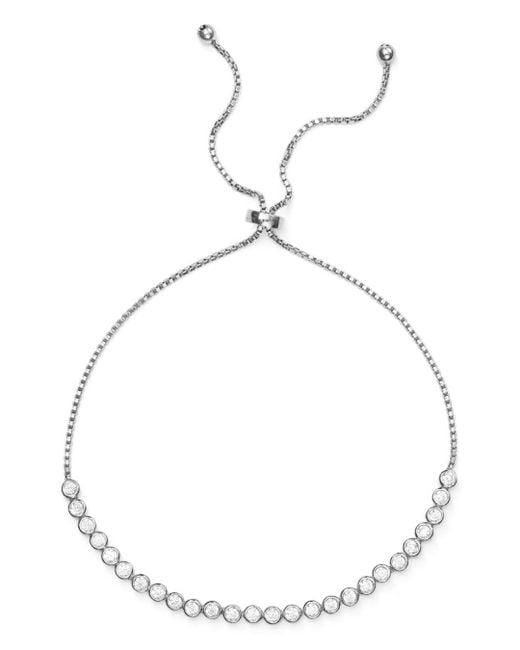 Aqua - Metallic Pavé Slider Bracelet In 18k Gold-plated Sterling Silver Or Sterling Silver - Lyst