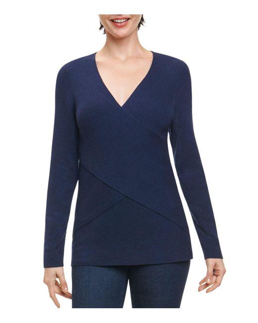 Foxcroft | Blue Ribbed Crisscross Sweater | Lyst