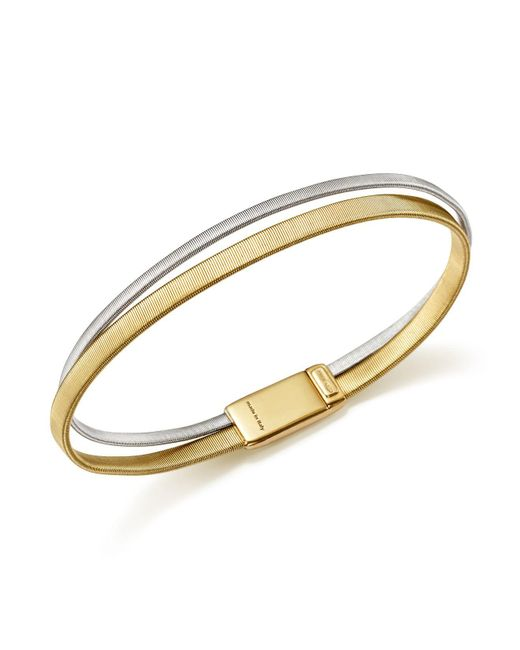 Marco Bicego - Metallic 18k White And Yellow Gold Masai Two Row Bracelet - Lyst
