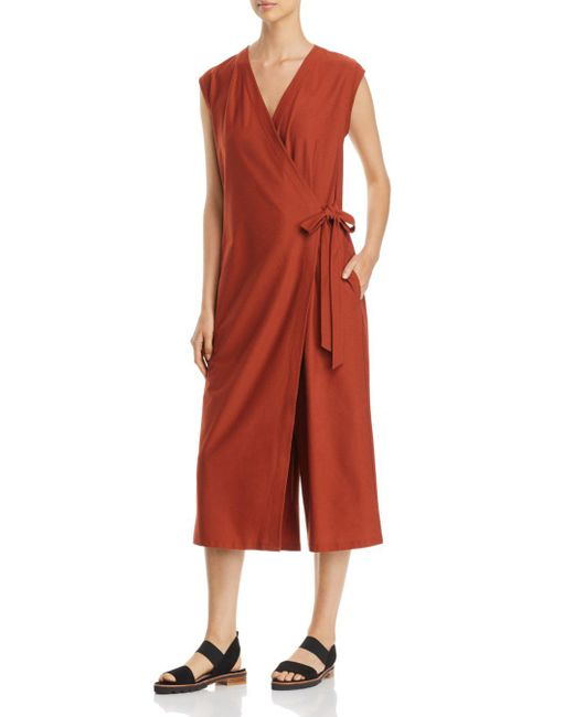 Eileen Fisher - Red Wrap-front Jumpsuit - Lyst