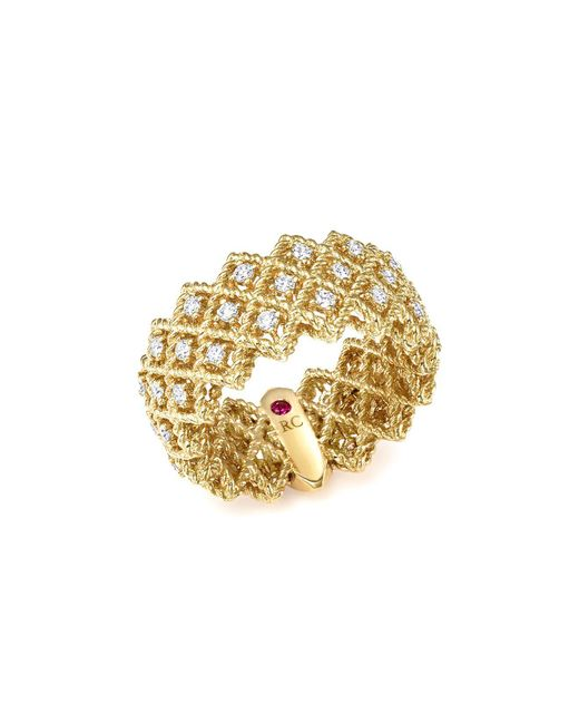 Roberto Coin | Metallic 18k Yellow Gold New Barocco Three Row Diamond Ring | Lyst