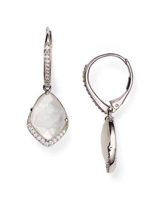 Nadri - Metallic Pavé Mother - Of - Pearl Drop Earrings - Lyst